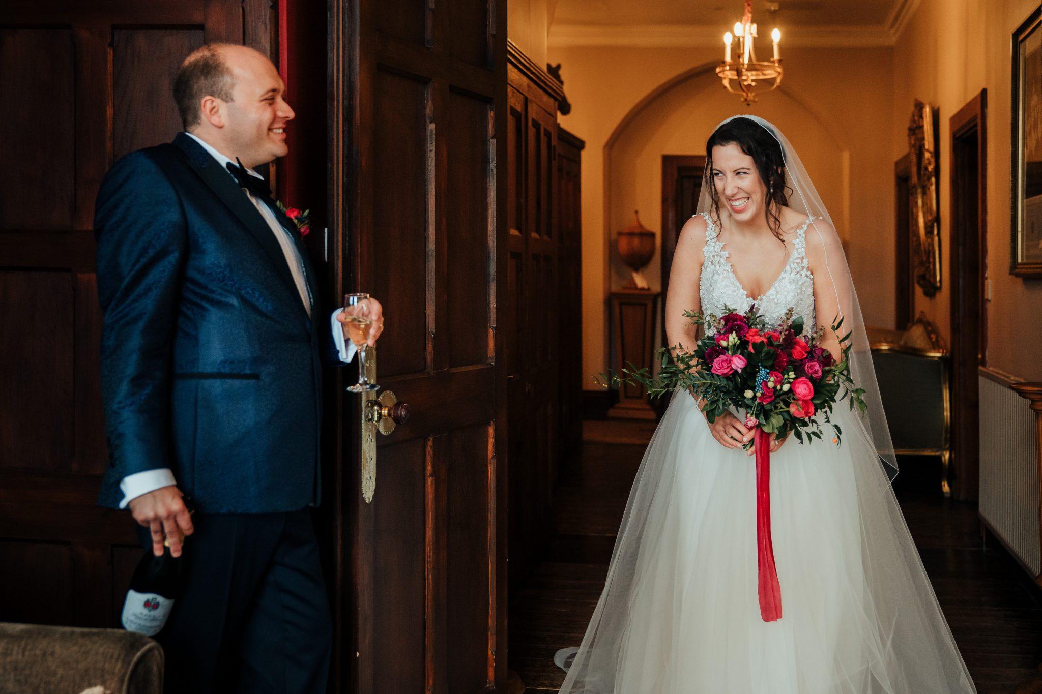 bashful moment for the bride at huntsham court in somerset